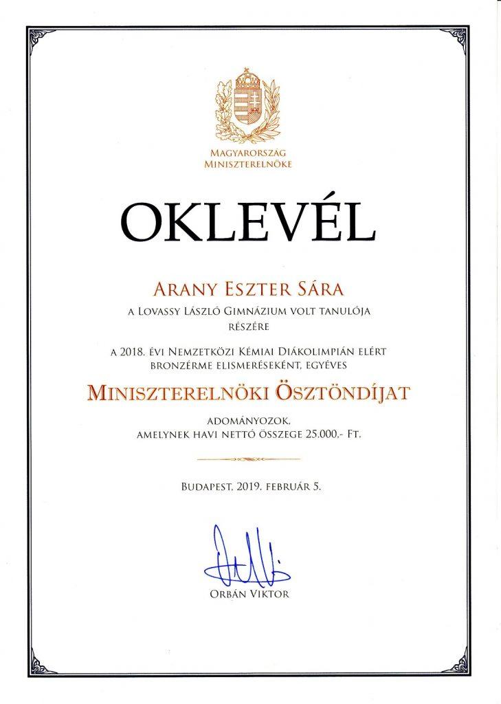 2019 Arany Eszter kémia diákolimpia