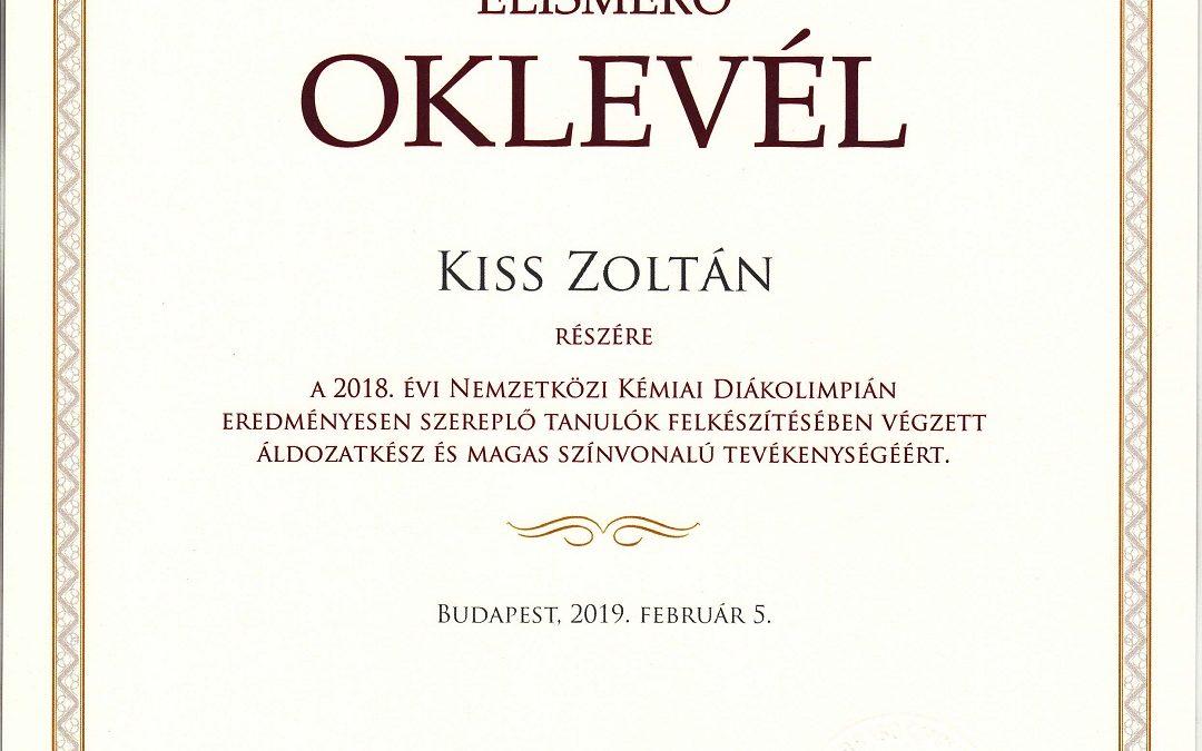 2019 Kiss Zoltán kémia diákolimpia