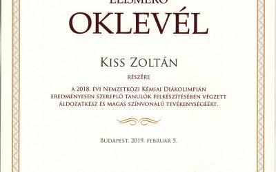 Kiss Zoltán tanár úr elismerése