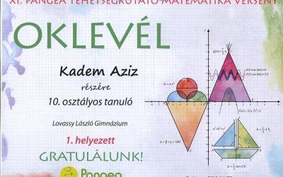 Pangea Matematika Verseny 1. hely