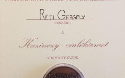 Réti Gergely Kazinczy-emlékérmes