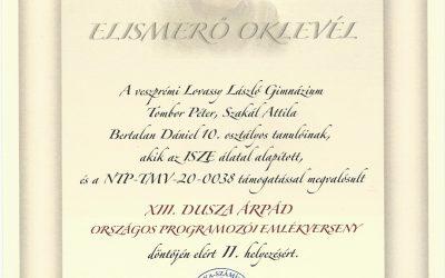 Dusza Árpád országos programozói verseny – 2021
