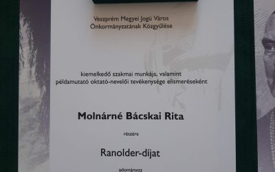Molnárné Bácskai Rita tanárnő Ranolder-díjas