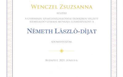 Wenczel Zsuzsanna tanárnő Németh László-díjas
